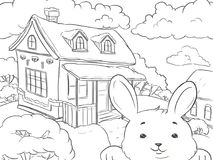 Line-art. Coloring page Landscape House Winter with rabbit. Line-art. Coloring page Landscape House Winter with funny rabbit Royalty Free Stock Image
