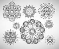 Line art complex flower illustrations. Doodle line art complex flower illustrations set Stock Images