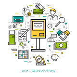 Line Art concept - ATM - quick and easy. Vector thin line concept of quick and easy atm transaction in modern linear style. Green, blue and yellow colors. Money Royalty Free Stock Images