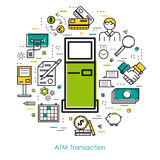 Line Art concept - ATM Transaction. Vector thin line concept of atm transaction on white isolated background in modern art style. Green, blue and yellow colors Stock Photography