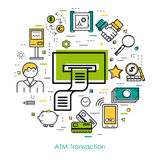 Line Art concept - Bank Safe. Vector round web banner ATM transaction. Modern thin line icons in three colors. Outline templates Stock Images