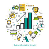 Line Art Concept - Business Company Growth. Vector concept of Business Company Growth Round Concept in Thin Line Art Style. Chart with arrow going up and Royalty Free Stock Photo