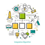 Line Art Concept - Integration Algorithm Stock Photo