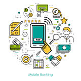 Line Art concept - Mobile Banking. Vector thin line concept of Mobile Banking on white isolated background in modern art style. Green, blue and yellow colors Royalty Free Stock Images
