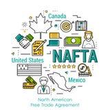 Line Art Concept - NAFTA Stock Images