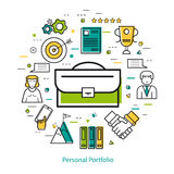 Line Art Concept - Personal Portfolio. Vector round concept of business personal portfolio and case study in thin line style. Portfolio as a symbol and business Royalty Free Stock Photo