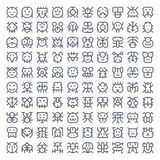 100 line art creatures Royalty Free Stock Photography