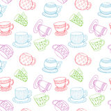 Line art cups seamless pattern. Endless design with sketch style mugs. Stock Photo