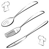 Line art cutlery, fork, knife, spoon and chef hat. Stock Photos