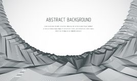 Line art 3d abstract vector background with geometric linear ter. Rain surface of fantastic cosmic planet landscape, science fiction illustration. Usable as Royalty Free Stock Photo