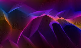 Line art 3d abstract vector background with geometric linear terrain surface of fantastic cosmic planet landscape, science fiction