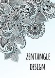 Line art decorative flowers zentangle style inspired. Vector design frame. High quality drawn elements in beautful composition. Line art decorative flowers stock illustration