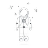 Line art design astronaut and stars. Royalty Free Stock Photography