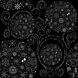 Line art design Christmas seamless pattern. With xmas balls, snowflakes and stars Stock Photo