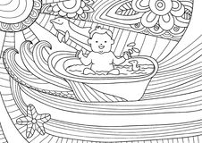 Line art design for coloring book fro adult. Smiling baby takes a bath. Smiling baby takes a bath, fantasy with waves and dolphins. Line art design for coloring Stock Photography
