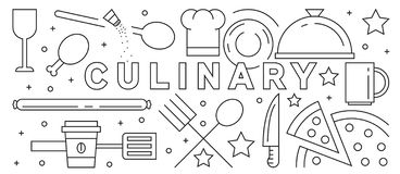 Line Art Design With Culinary Theme. Restaurant And Food Concept. Kitchen And Cook vector illustration