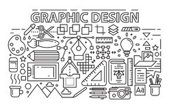 Line Art Design. Graphic Design Theme With Flat, Black And Bold Outlines stock illustration