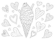 Line art design of ice cream cone for design element and coloring book page. Vector illustration royalty free illustration