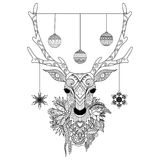 Line Art Design Of Christmas Deer Head With Decorative Balls And Snowflakes And Flowers. Vector Illustration