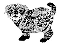 Line art design of pug dog for design element and adult coloring book page. Vector illustration