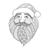 Line art design of smiley Santa Claus for design element and adult coloring book page. Vector illustration Royalty Free Stock Images