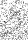 Line art design of storm scrolling and Christmas tree for print design and adult coloring book page. Vector illustration. Line art design of storm scrolling nand Royalty Free Stock Images