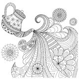 Line art design of teapot pouring tea  Royalty Free Stock Photography
