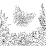 Line art design  of tropical flowers and leaves with copy space for design element and coloring book page. Vector illustration Royalty Free Stock Image