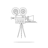 Line art detailed professional retro movie film camera. Vintage cinema. Poster, card, leaflet or banner template with place for text. Isolated on white. Video Stock Images