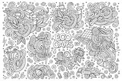Line art  doodle cartoon set of Electric cars objects Stock Image