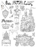 Line art doodle set with prince accessories and royal concept Stock Images