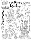 Line art doodle set with princess accessories and royal concept Royalty Free Stock Image
