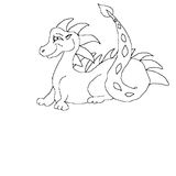 Line Art Dragon. A line art dragon black and white hand drawn then scanned in royalty free illustration