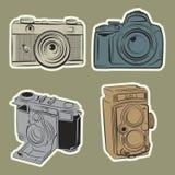Line art draw retro camera Stock Photo