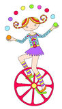 Line art drawing of circus theme - teenage girl Stock Images