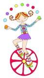 Line art drawing of circus theme - teenage girl Stock Images