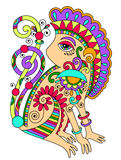 Line art drawing of ethnic monkey in decorative Stock Photo