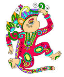 Line art drawing of ethnic monkey in decorative Stock Photography