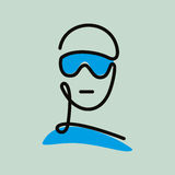 Line art drawing of human face. With sunglasses Royalty Free Stock Photography