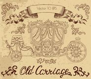 Line art drawing with old carriage on textured background Royalty Free Stock Photo