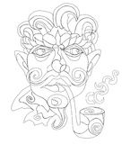 Line art face serious man with mustache smoking pi Stock Images