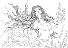 Line art of fire element girl. Line art. Vector illustration of a beautiful young woman with long hair in a flowing dress in the form of the fire element Royalty Free Stock Photos