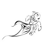 Line art fish. Isolated over white background Stock Image