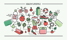Line art flat colorful vector illustration healthy lifestyle, sport and food objects. Stock Photos