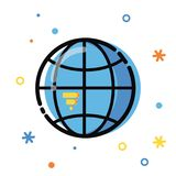 Line art flat Style illustration. Global application development, business and information. Icons and elements stock photos