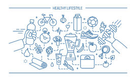 Line art flat vector illustration healthy lifestyle, sport and food objects. Stock Photo