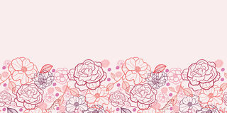 Line art flowers horizontal seamless pattern. Vector floral line art horizontal seamless pattern ornament with hand drawn flowers on light pink background stock illustration