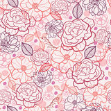 Line art flowers seamless pattern background. Vector floral line art seamless pattern with hand drawn flowers on light pink background stock illustration
