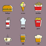 Line art food and drink icon set Royalty Free Stock Image