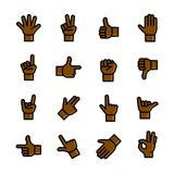 Gestures icons set, vector illustration. Line art Gestures icons set, hand symbols outline vector illustration Royalty Free Stock Images